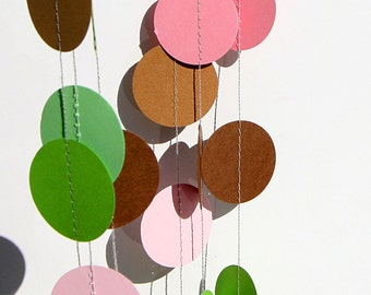 Birthday decorations, paper garland, pink green and brown, pink garland, brown kraft garland, bridal shower decorations, nursery, baby