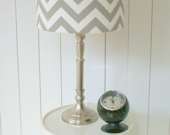 Grey and white chevron fabric lampshade, modern crisp fabric design in GREY or TURQUOISE