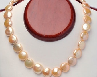 13-14mm Peach Coin Pearl Necklace