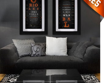 Baltimore Orioles - Double-Play Combo - Charcoal Black - Perfect Birthday, Anniversary or Father's Day Gifts - Unframed Prints