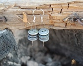 """Gray Metal Accent Vintage Button Earrings - """"Ash"""""""