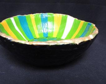 Handmade green, turquoise, yellow, white striped bowl