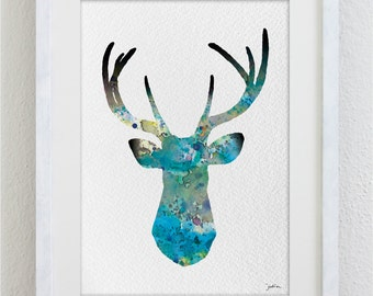 Blue Deer Watercolor Print - 5x7 Archival Print - Deer Painting - Deer Art Print - Wall Decor Art Home Decor Housewares
