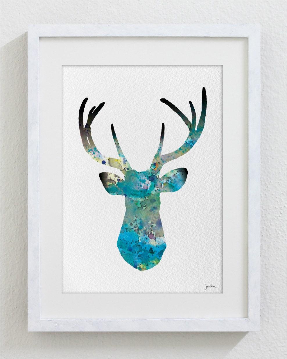 Blue Deer Watercolor Print 5x7 Archival Print Deer