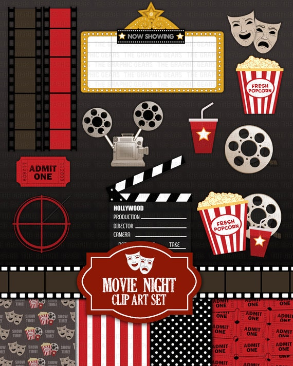 Movie Night Clip Art Set Cinema Theatre Or By GraphicGears