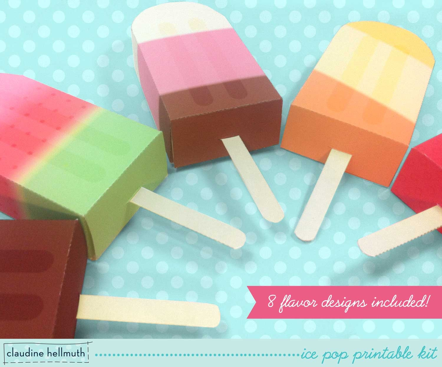 Ice Pop Party Favor Boxes And Gift Card Holders Printable