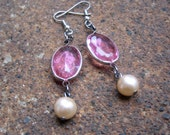 Eco-Friendly Dangle Earrings - Love Potion - Recycled Vintage Bezel-Set Rose Pink Plastic Crystals and White Glass Pearls