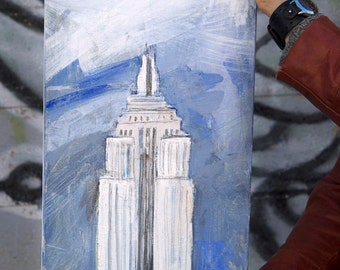 Empire State Building -New York City Art, Original painting on canvas, mixed media, blue, turquoise, white,gray