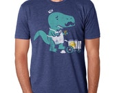 Mens T-Rex Mustache Shirt Funny Dinosaur Rawr TShirt Vintage Ice Cream Tee Available S M L XL XXL