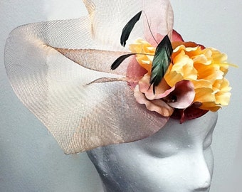 Fascinator, yellow fascinator hat, pink yellow wedding hat CHINA ROSE