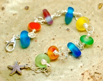 Sea glass lampwork adjustable bracelet by paulbead handmade glass and silver fashion bracelet in colorful beach glass with starfish charm