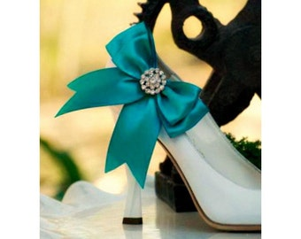 Shoe Clips TEAL Bow. Royal Blue White Ivory. Sparkly Rhinestone Crystal & Satin Ribbon. Wedding Bridal Shoe Clips. More Sage Pink Red Black
