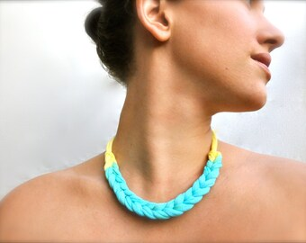 Turquoise Statement Necklace - with Daffodil Yellow - recycled fabric jewelry