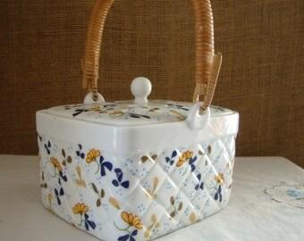 MID CENTURY CRICKET Box Schmid Bros Lunch Box Cricket Box Made Japan Porcelain Lunchbox Box Bamboo Handle Box Japan Cricket Box Vented Box