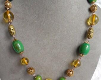 Antique Celluloid & Filigree Bead Choker Necklace Earrings Set    JAB30