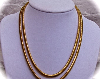 VINTAGE 50s 60s Two Strand Snake Chain Gold Tone Choker Necklace