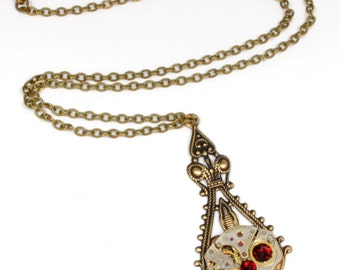JULY Steampunk Necklace, RED Steampunk Watch Necklace Antique Brass July Ruby Birthstone Victorian Steampunk Jewelry by VictorianCuriosities