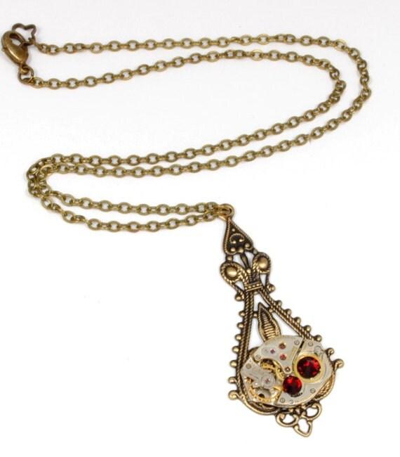 JULY Steampunk Necklace, RED Steampunk Watch Necklace Antique Brass July Ruby Birthstone Victorian Steampunk Jewelry by VictorianCuriosities