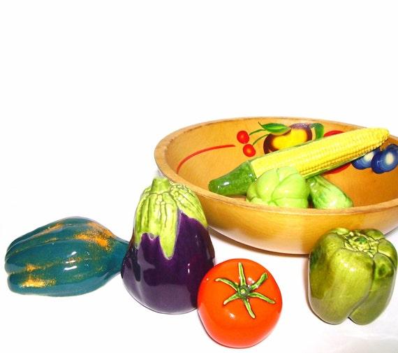Kitchen Decor Vegetables: Vintage Ceramic Vegetables Colorful Kitchen Fruits 1960s