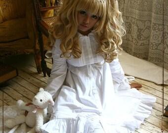 SALE 54.00 Sleepy Lolita BabyDoll Empire Waist Button Down Cotton Dress Sleepwear White