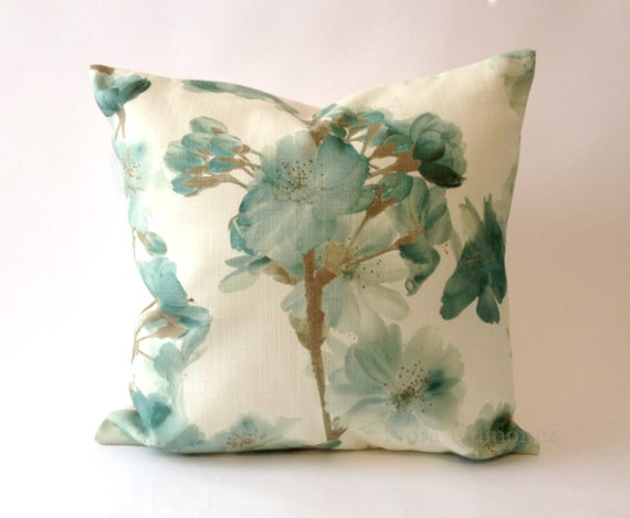 16x16 TO 10x20 Floral Print Spring Blooms Decorative Pillow Cover - Solid Canvas Backing -Medium Weight Cotton- Invisible Zipper Closure