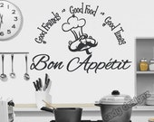 Bon Appetit - Vinyl Wall Decal - Kitchen Decor -Good Food Good Friends Good Times - French - Wall Art Quote - Vinyl Wall Lettering -