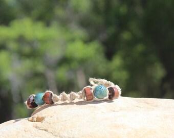 Hemp Bracelet  Wood  Beads Turquoise Colored Beads Handmade Macrame Jewelry