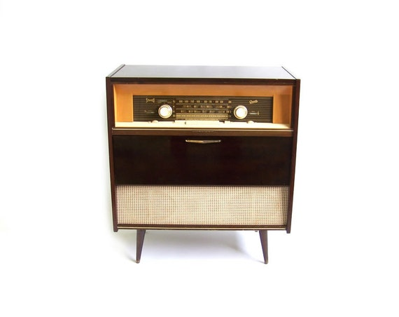 Vintage Stereo Cabinet Radio Record Player Retro By