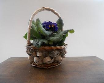 Vintage Swedish Handmade Vintage Birch bark basket with a handle Primitive house garden decor Rustic planter Easter decor