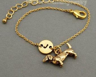 Daschund charm bracelet, Dachshund, Doxie, antique gold, Wiener, initial bracelet, friendship, mothers, adjustable, monogram