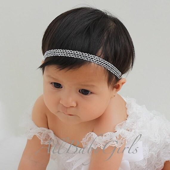 Newborn Headband, Halo Headband, Gray Headband, Baby Headband, Infant Headbands, Baptism Headband, Christening Headband.