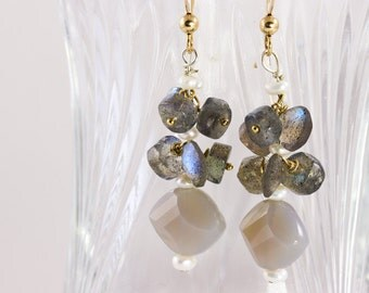 Long labradorite earings, gray agate , pearl , semiprecious stone with 14K gold fill jewelry, one of a kind earings.