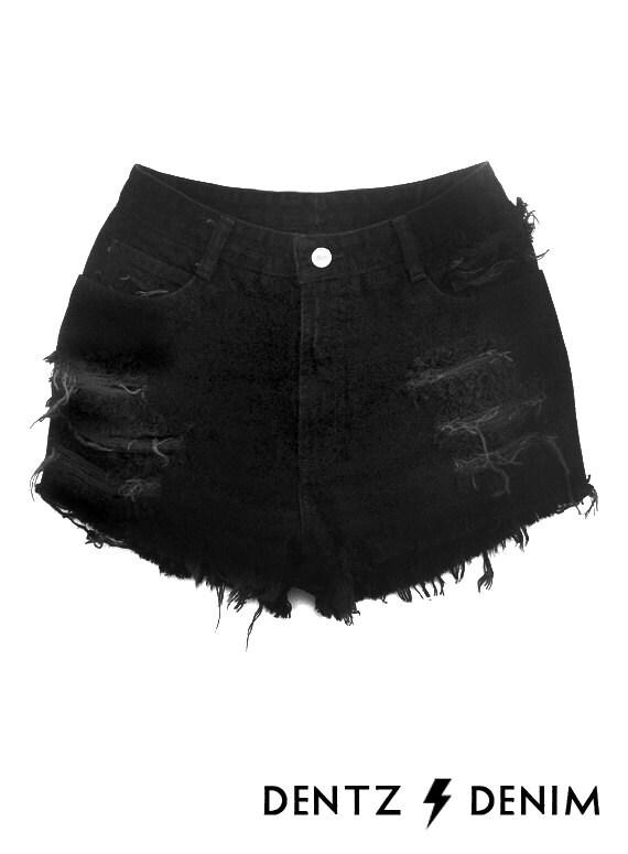 High Waisted Black Denim Shorts Moderate Shredding Black