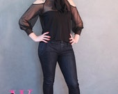 MADE TO ORDER Black Sheer Mesh Blouse with attached Scarf and open shoulders