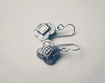 Silver quatrefoil earrings - everyday jewelry - sterling hooks - dainty clover earrings