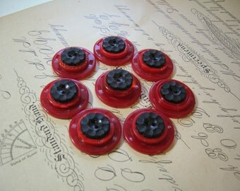 Button Magnet Set of 8 - Red and Black Vintage Buttons