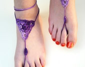 Crochet Barefoot Sandals, Purple Barefoot sandles, foot jewelry, Beach Wedding, Bridesmaid gift, Beach Anklet, summer shoes, wedding shoes