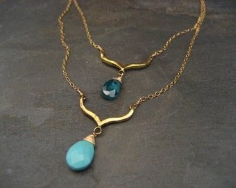Sleeping beauty turquoise and aqua cz double gold filled necklace.