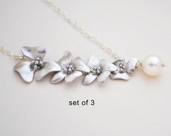 Discounted Set of 3 Silver Cherry Blossom Lariat with Freshwater Pearl, Sterling Silver Chain, Bridesmaid Gift,  Wedding Jewelry
