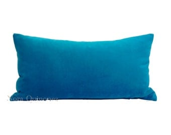 Aqua Blue Decorative Pillow Cover -10x20 to 12x24 Medium Weight Cotton Velvet - Invisible Zipper Closure- Knife Or Piping Edge