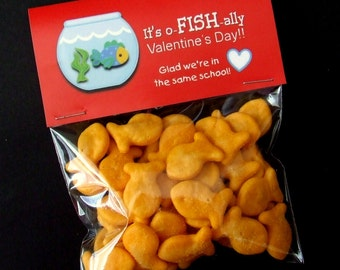 INSTANT DOWNLOAD - Printable Valentine Treat Bag Toppers  - o - FISH - al Valentine's Day - Fish