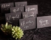 Place Cards - Calligraphy - Hand Lettering for weddings & events - White Calligraphy on Black
