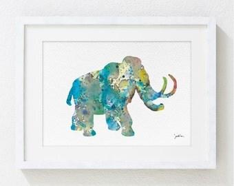Blue Mammoth Watercolor Print - 5x7 Archival Print - Animal Painting - Mammoth Art Print - Wall Decor Art Home Decor Housewares