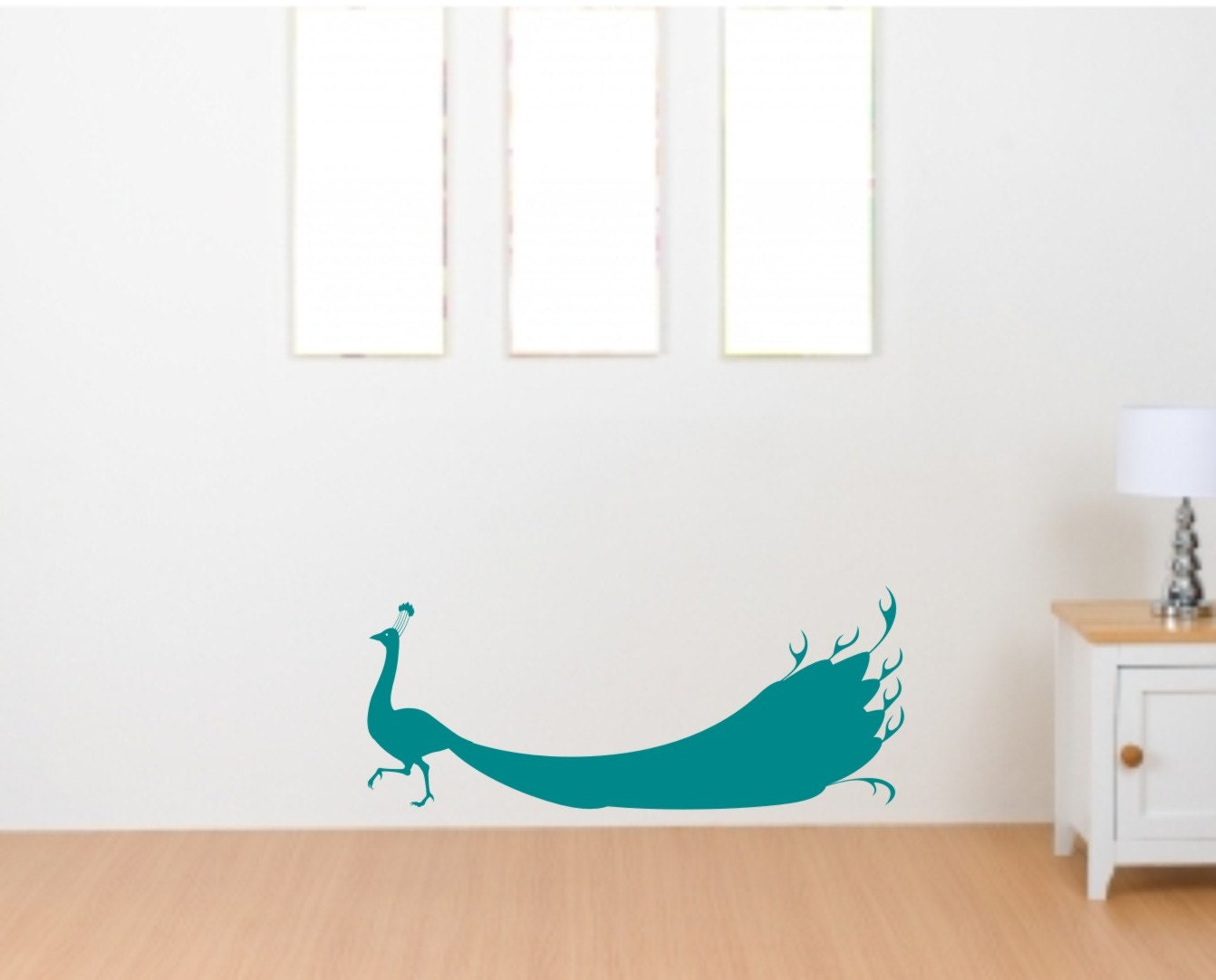 peacock silhouette vinyl wall decal decor by skywaywalls on etsy. Black Bedroom Furniture Sets. Home Design Ideas