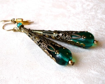 Vintage Victorian Earrings Emerald Teardrop Art Nouveau Filigree Tussie Mussie Gold Filled Romantic Bridal Anniversary Birthday Gift for Her