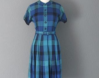 1950s Preppy/Rockabilly Brentshire Plaid Vintage Dress