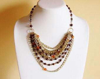Reclaimed chunky bib, vintage necklace, assemblage necklace, big chunky bold necklace, statement necklace, earthy jewelry, OOAK jewelry