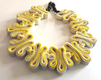 Statement Necklace Jewelry Ombre Felt Necklace Felted Jewelry Recycled Eco Friendly Felt Bib Necklace In Neon Yellow
