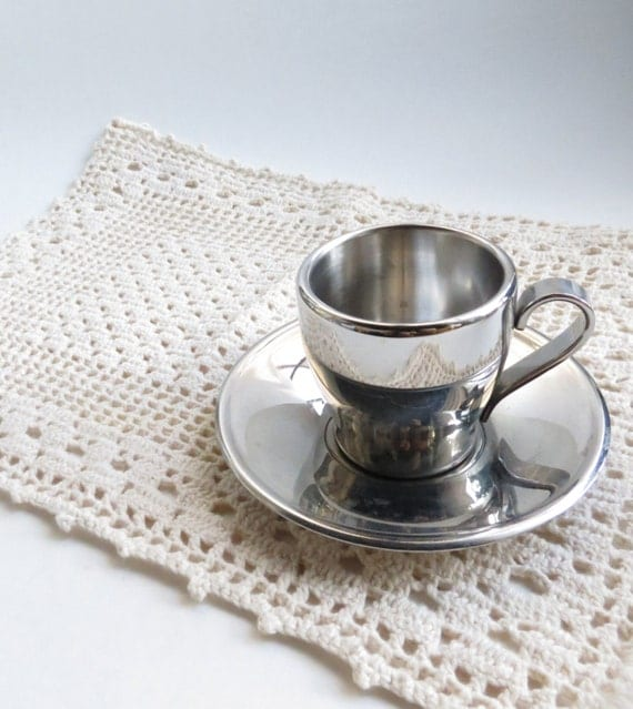 Pair of Vintage Double Walled Italian Meber Espresso Cups and