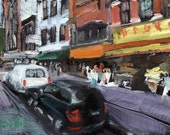 CHINESE BIZZYNESS Original Oil Painting 5x7in Handmade hardboard, Painterly impressionism  , bold Direct alla prima by jeff claudio